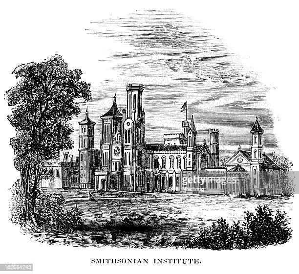 smithsonian in washington dc 1873 engraving - smithsonian institution stock illustrations