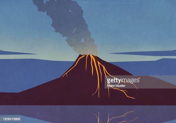 smoke and lava emitting from erupting volcano - volcano stock illustrations