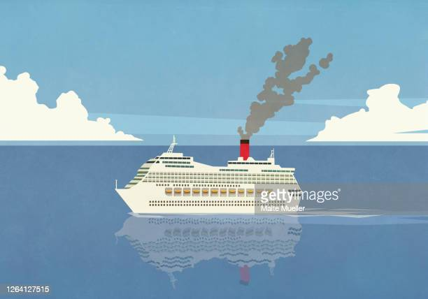 smoke emitting from cruise ship smokestack on ocean - journey stock illustrations
