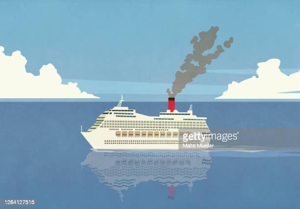 smoke emitting from cruise ship smokestack on ocean - transportation stock illustrations