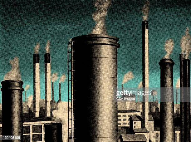 smoke stacks - environmental issues stock illustrations