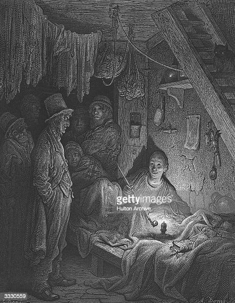 Smokers in the Lascars' Room, an opium den in the East End of London. A Lascar sits on a bench heating a long pipe over a flame. Dore's London - pub....