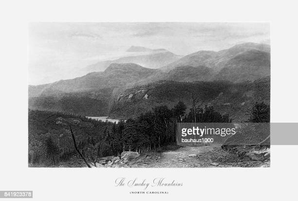 stockillustraties, clipart, cartoons en iconen met smokey mountains, north carolina, verenigde staten, amerikaanse victoriaanse gravure, 1872 - north carolina amerikaanse staat