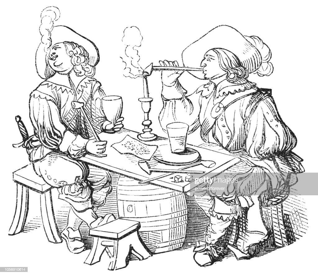 Smoking in France (17th Century) : stock illustration