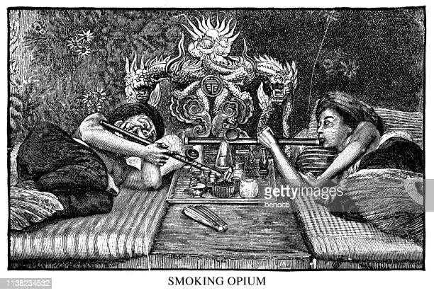 smoking opium - opium stock illustrations