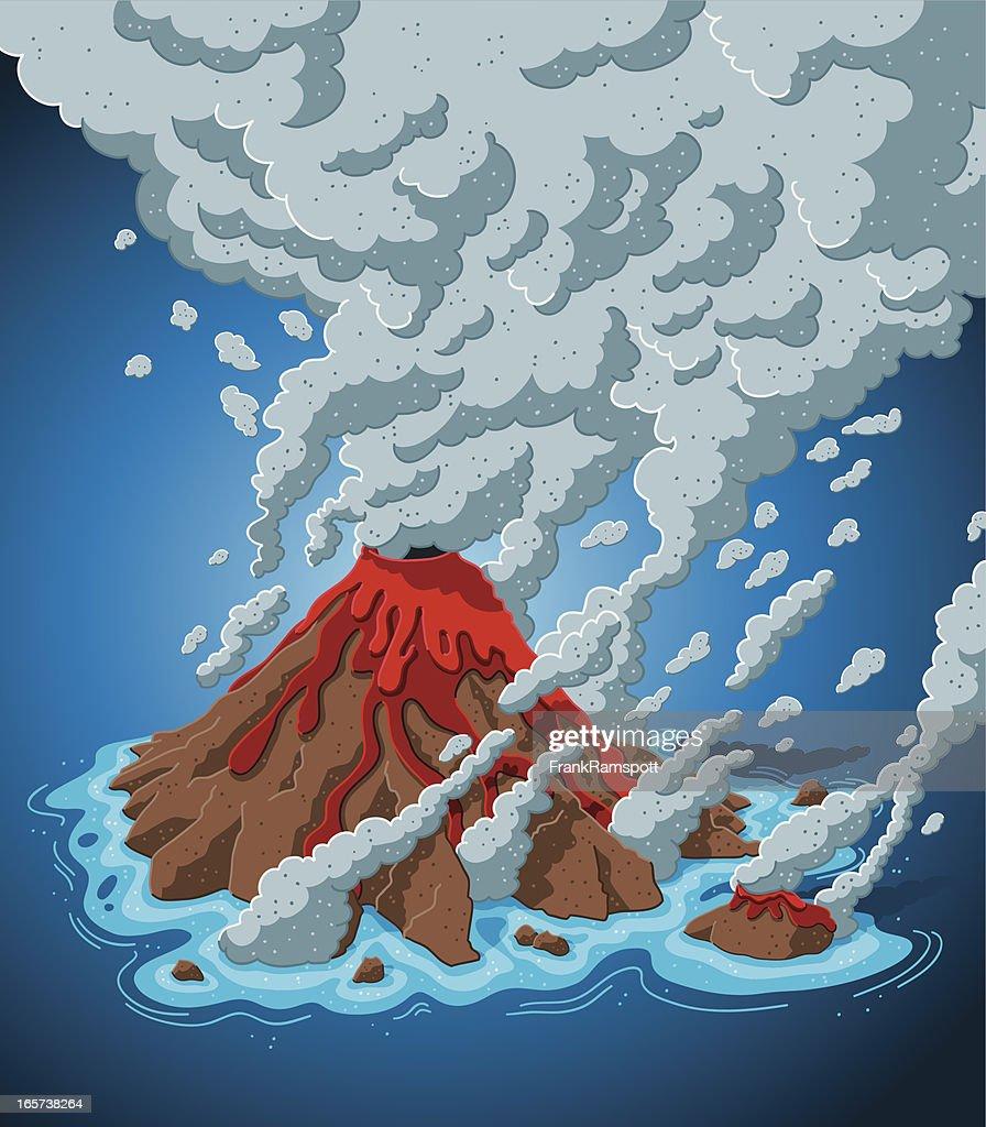 Smoking Volcano Island : stock illustration