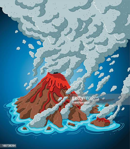 smoking volcano island - lava stock illustrations, clip art, cartoons, & icons