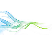 Smooth Abstract Wavy Blue Curves Background with Copy Space