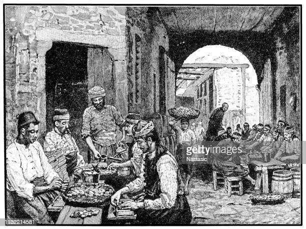 smyrna street, 19th century - balkans stock illustrations