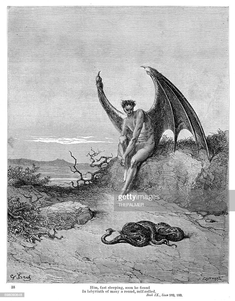 Snake and Evil 1885 : stock illustration
