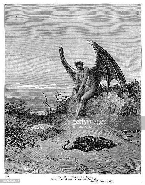 snake and evil 1885 - john milton stock illustrations, clip art, cartoons, & icons
