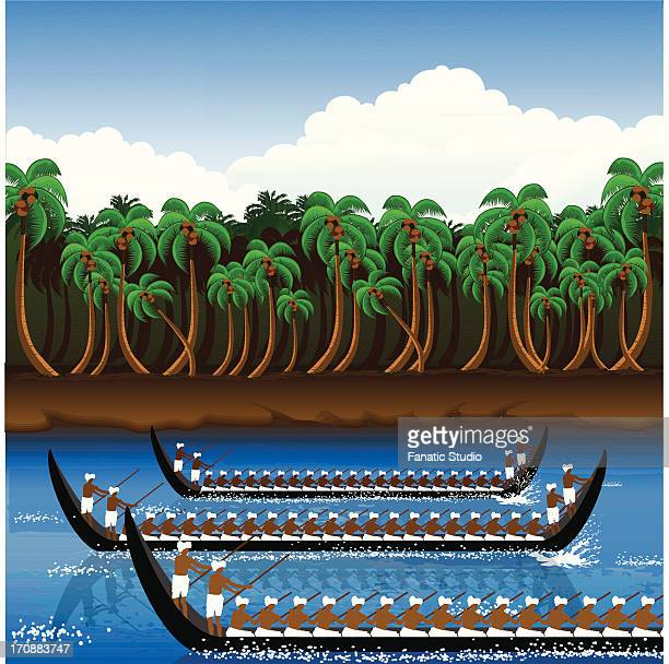 snake boat racing in onam festival, kerala, india - rapid stock illustrations