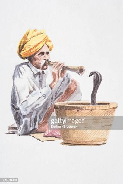 ilustrações de stock, clip art, desenhos animados e ícones de snake charmer playing flute-like instrument, snake emerging from basket in front. - naja