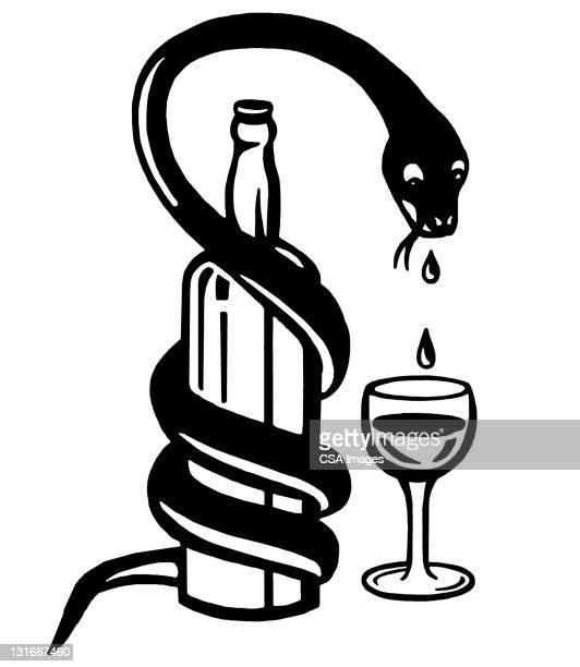 snake with liquor bottle and glass - wine stock illustrations