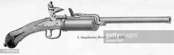 snaphaunce revolver - 17th century stock illustrations, clip art, cartoons, & icons