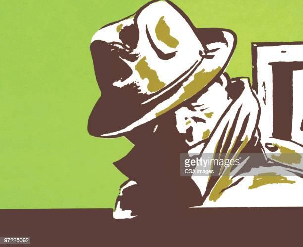 sneaky man - privateinvestigator stock illustrations