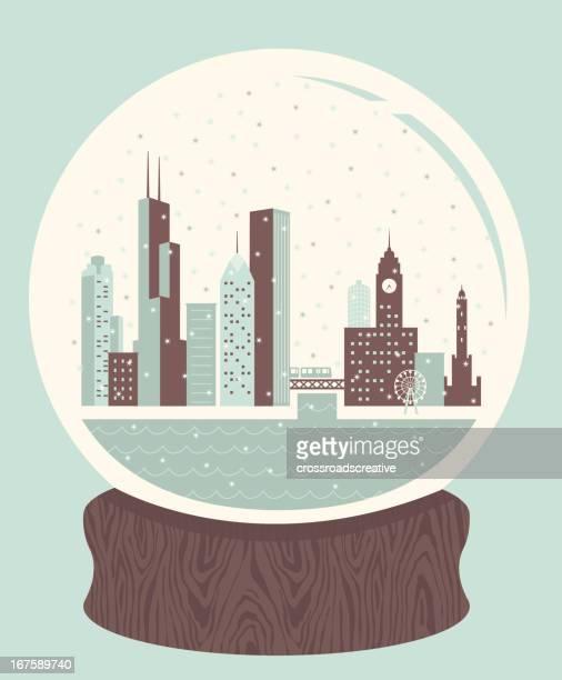 snow globe chicago - chicago stock illustrations, clip art, cartoons, & icons