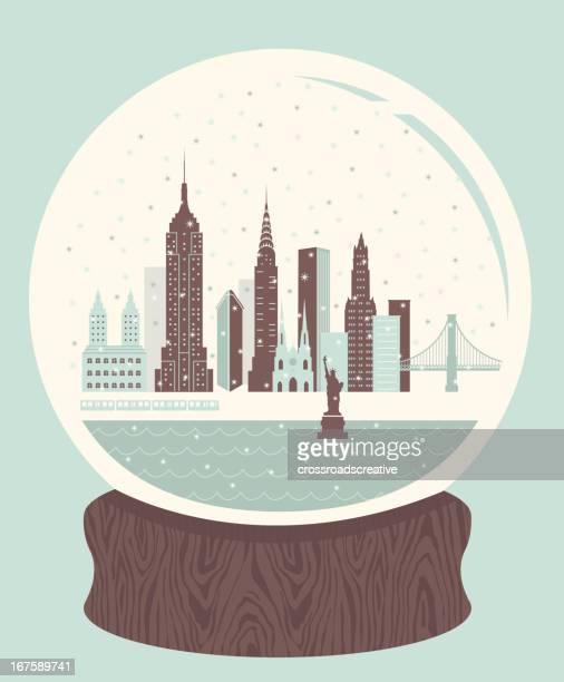 snow globe nyc - st. patrick's cathedral manhattan stock illustrations, clip art, cartoons, & icons
