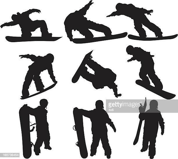 snowboarders - image technique stock illustrations