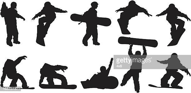 snowboarders in action - sports equipment stock illustrations