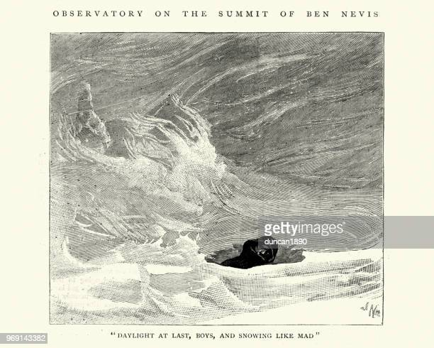 snowed in at the ben nevis meteorological observatory, scotland 1884 - grampian scotland stock illustrations