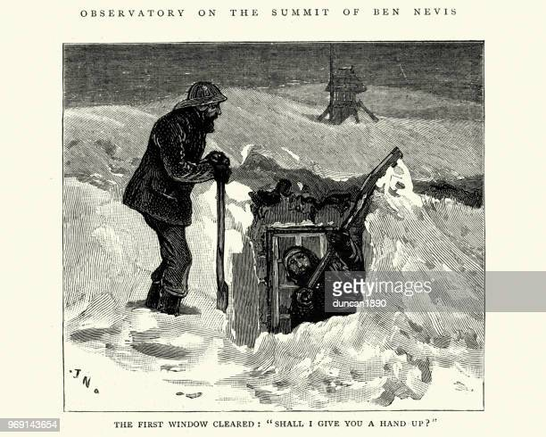 snowed in at the ben nevis meteorological observatory, scotland 1884 - blizzard stock illustrations, clip art, cartoons, & icons