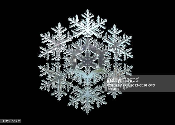 snowflake, illustration - black background stock illustrations