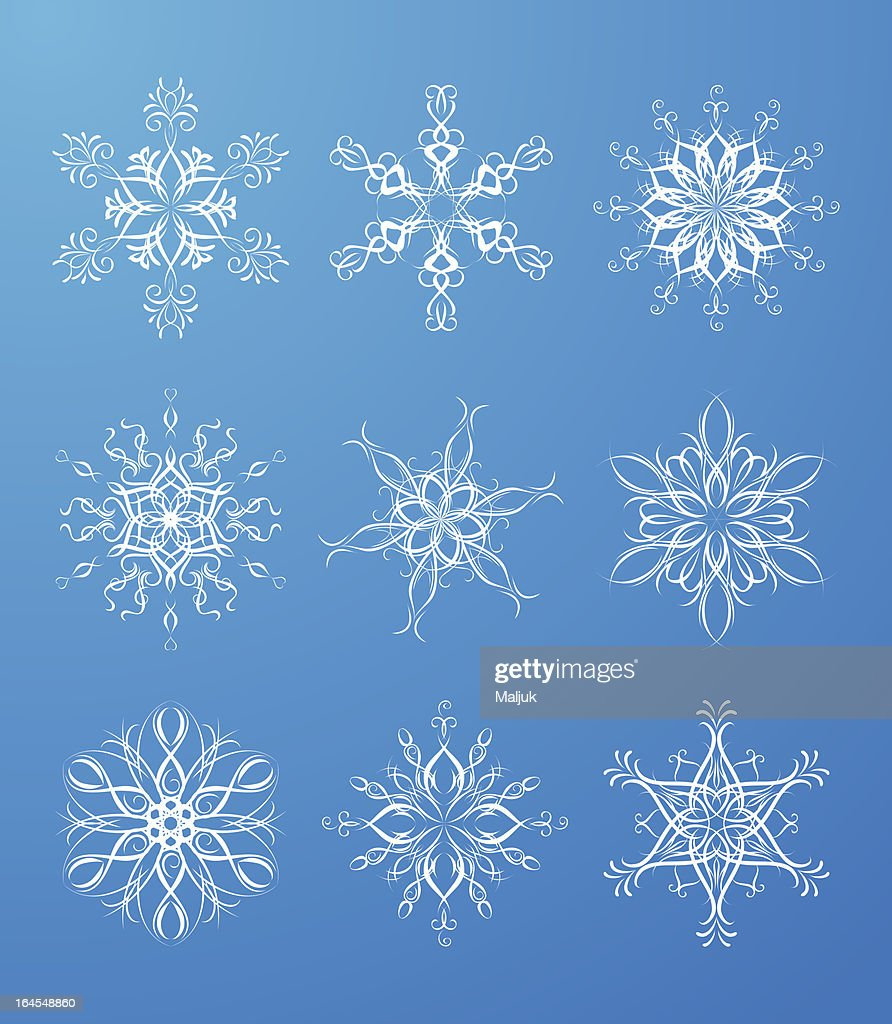 Snowflakes isolated on blue background