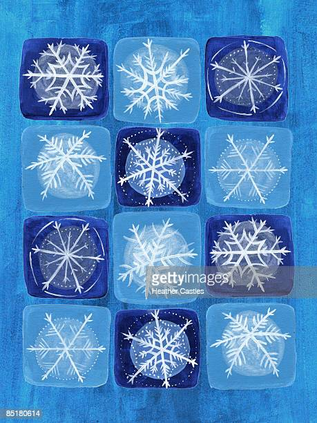 snowflakes on a blue background - number of people stock illustrations, clip art, cartoons, & icons
