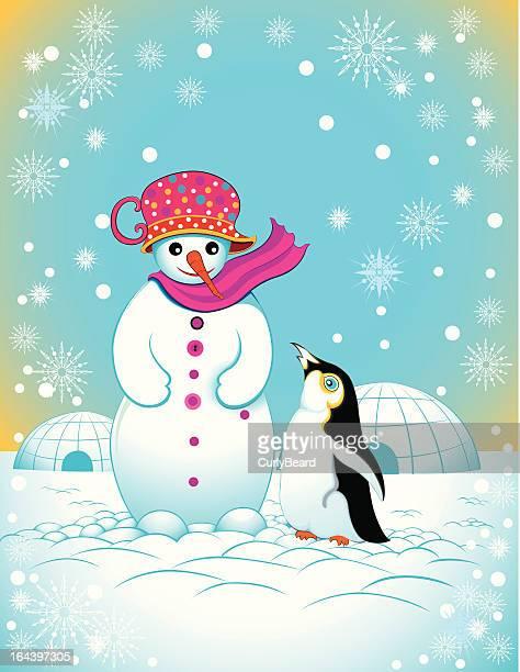 illustrations, cliparts, dessins animés et icônes de bonhomme de neige et manchot - igloo