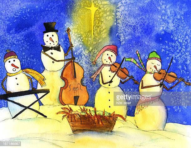 snowman band - bass instrument stock illustrations, clip art, cartoons, & icons