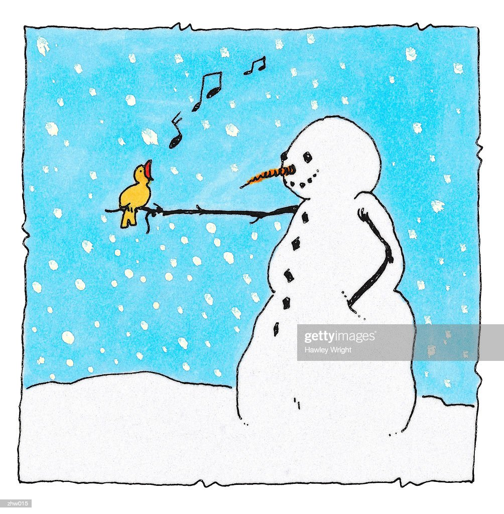 Snowman & Bird : Stock Illustration