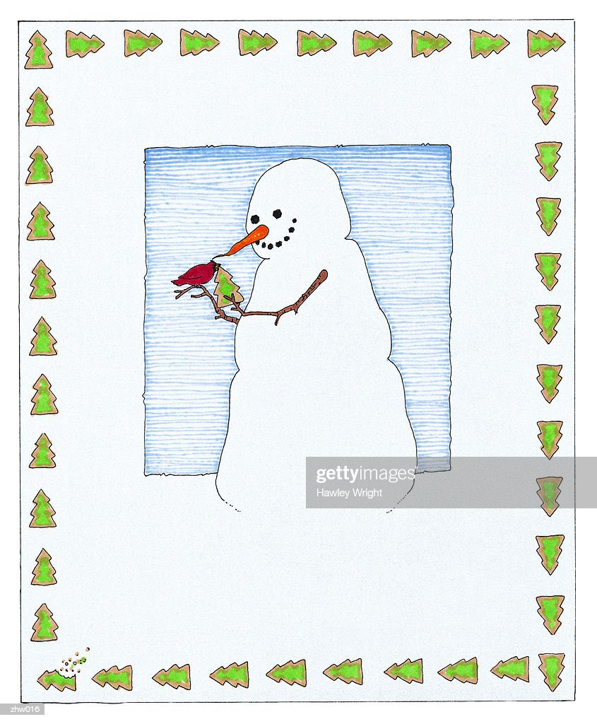 Snowman Feeding Cardinal : Stock Illustration