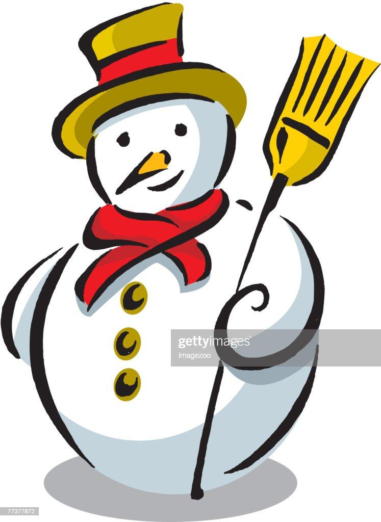 snowman holding a broom : Illustration