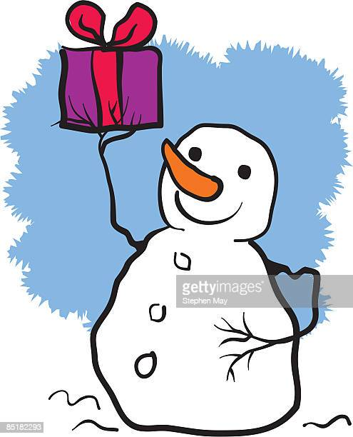 a snowman holding a gift - number of people stock illustrations, clip art, cartoons, & icons