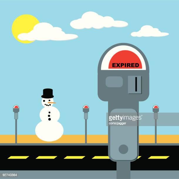 snowman in the sun (vector illustration) - parking meter stock illustrations