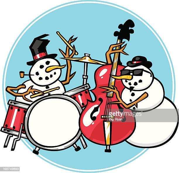 snowman jazz - jazz stock illustrations, clip art, cartoons, & icons