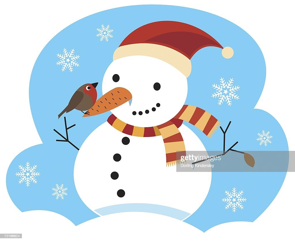 344e506769556 Snowman With Striped Scarf Wrapped Around Neck Red Christmas Hat And ...