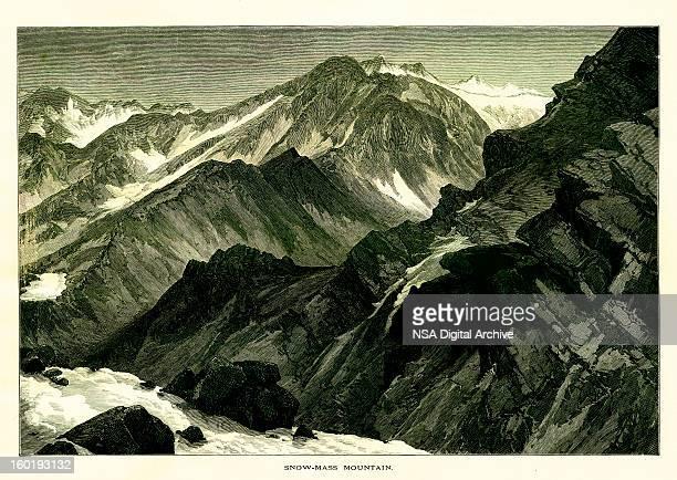 snowmass mountain, colorado - colorido stock illustrations