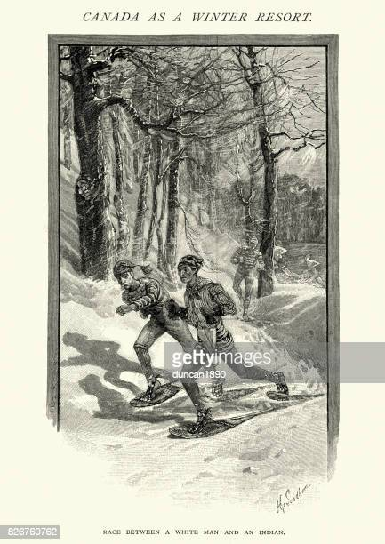 Snowshoes race, Canada, 19th Century