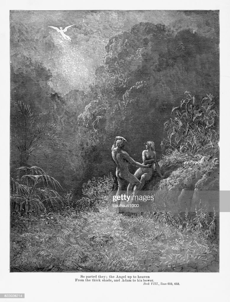 So Parted They Victorian Engraving, 1885 : stock illustration