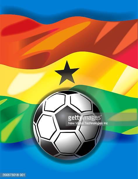 soccer ball and ghanaian flag - ghana stock illustrations, clip art, cartoons, & icons