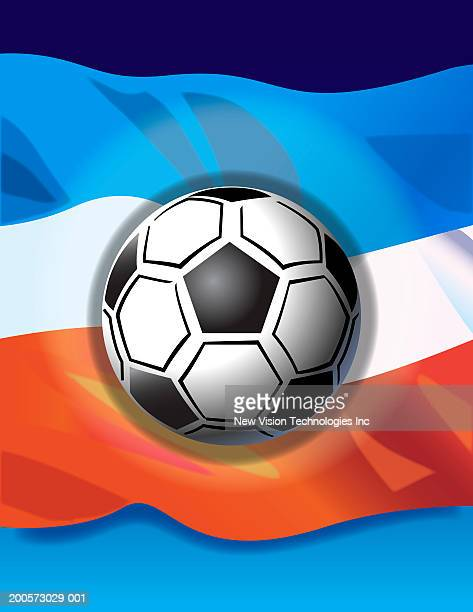 soccer ball and serbian and montenegrin flag - balkans stock illustrations, clip art, cartoons, & icons