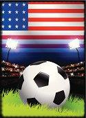 Soccer Ball on United States Stadium Background