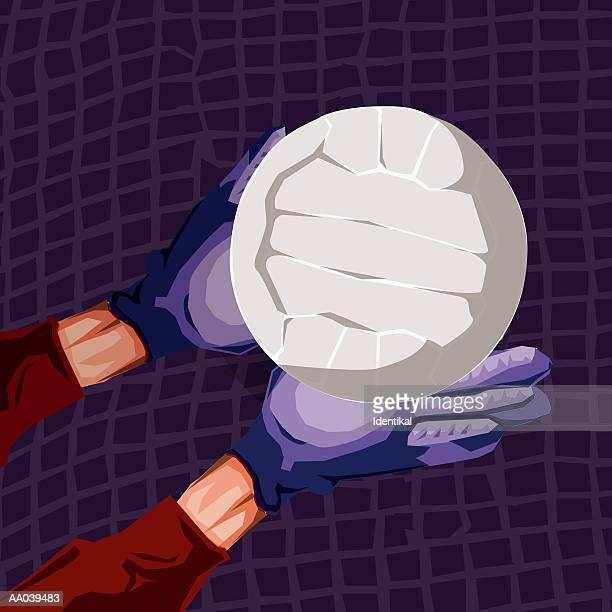 ilustraciones, imágenes clip art, dibujos animados e iconos de stock de soccer goalie blocking shot, close-up - guantes de portero