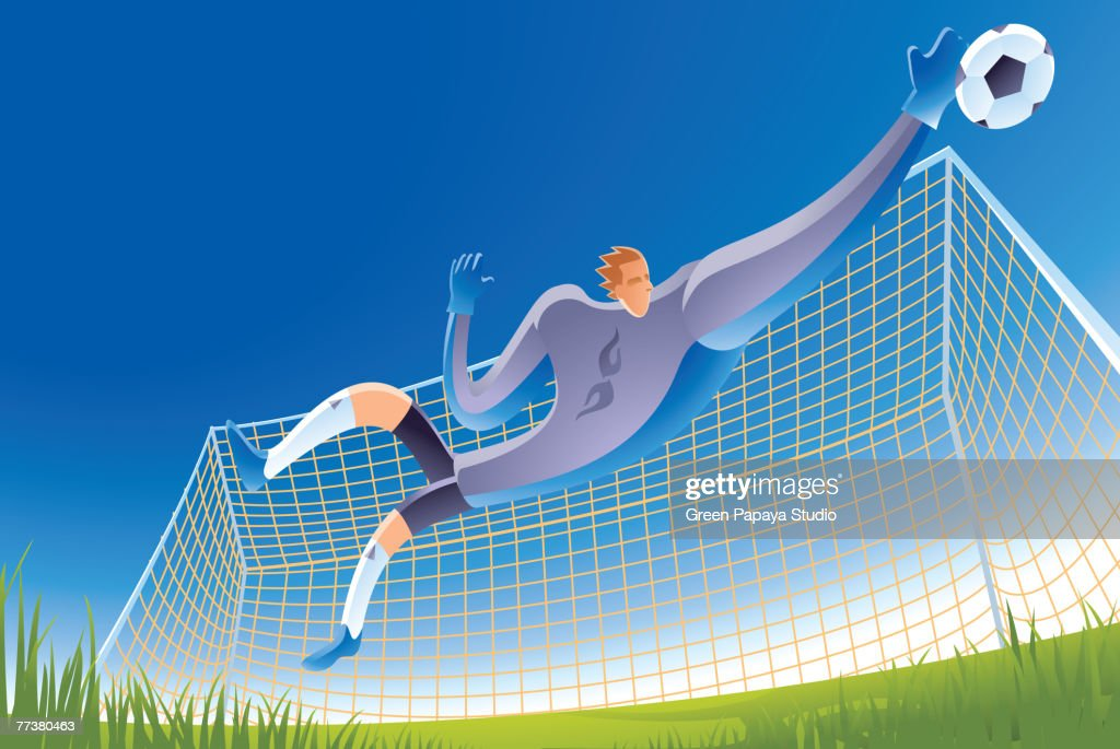 A soccer goalie in action : Illustration