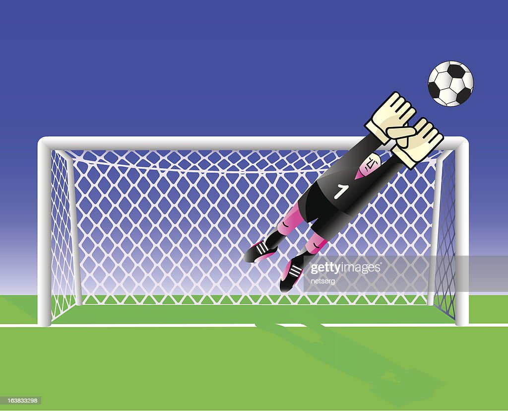 Soccer  goalkeeper is jumping on ball.