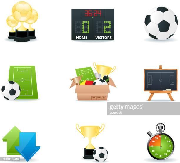 ilustraciones, imágenes clip art, dibujos animados e iconos de stock de iconos de fútbol - cancha futbol