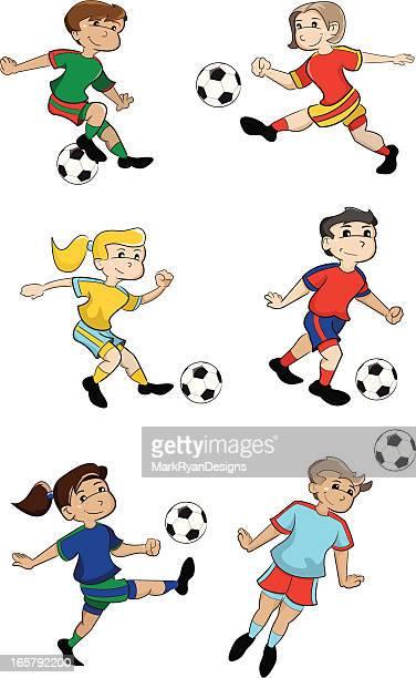 ilustrações de stock, clip art, desenhos animados e ícones de crianças de futebol - futebol infantil
