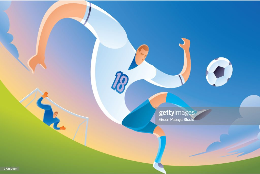 A soccer player kicking the ball : Illustration